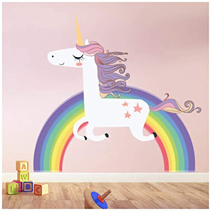 Amazon Com Azutura Unicorn Wall Sticker Rainbow Wall Decal Art
