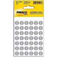 Etiqueta adesiva p/ codificação 12mm prata TP12PR Pimaco, BIC, 886598, Prata, pacote de 5