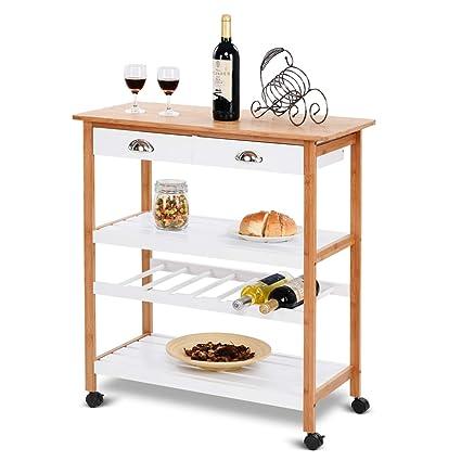 Giantex Rolling Kitchen Trolley Cart W Drawers Shelf Bamboo Home Restaurant Mobile Island Utility Cart W Wheels