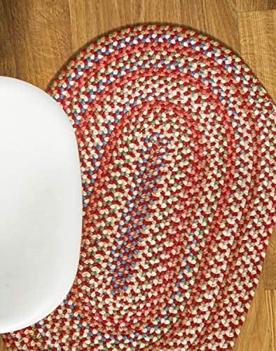 Super Area Rugs Roxbury Indoor Outdoor Braided Rug Red Natural Multi Colored RB49, 2 X 3 Oval
