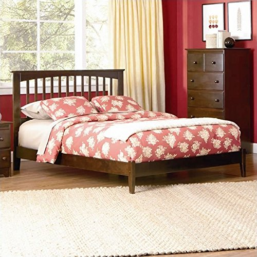 Atlantic Furniture Brooklyn Platform Bed with Open Footrail in Antique Walnut-King - King
