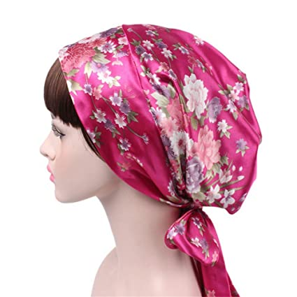 Egurs Satin Impreso Turban Cap Sleeping Cap Cáncer Quimioterapia Sombreros Long Tailed Braid Hat para Mujeres