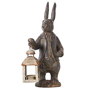 NIKKY HOME Vintage Metal Tealight Candle Lantern Holder Rabbit Resin Sculpture Bunny Figurine