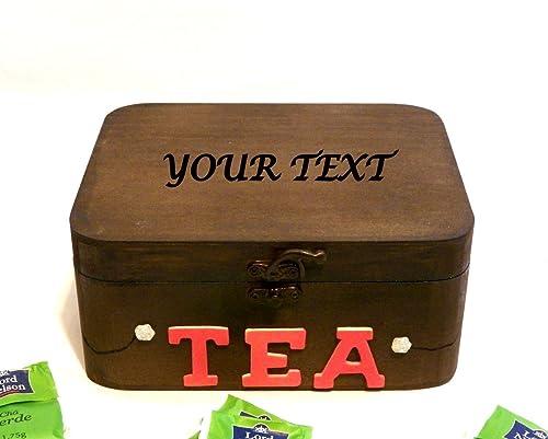 Caja de Paquetes de Té, Caja de Té Grabada Texto Personalizado ...