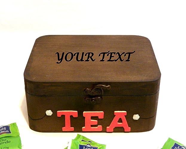 Caja de Paquetes de Té, Caja de Té Grabada Texto Personalizado, Caja de Té