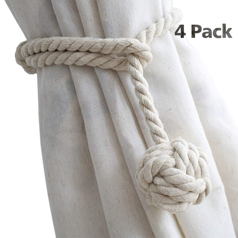 DEZENE 4 Pack Curtain Tiebacks,Handmade Natural Cotton Rope Drapery Tie Bakes,Decorative Holdbacks Holders for Window Sheer and Blackout Panels,Beige