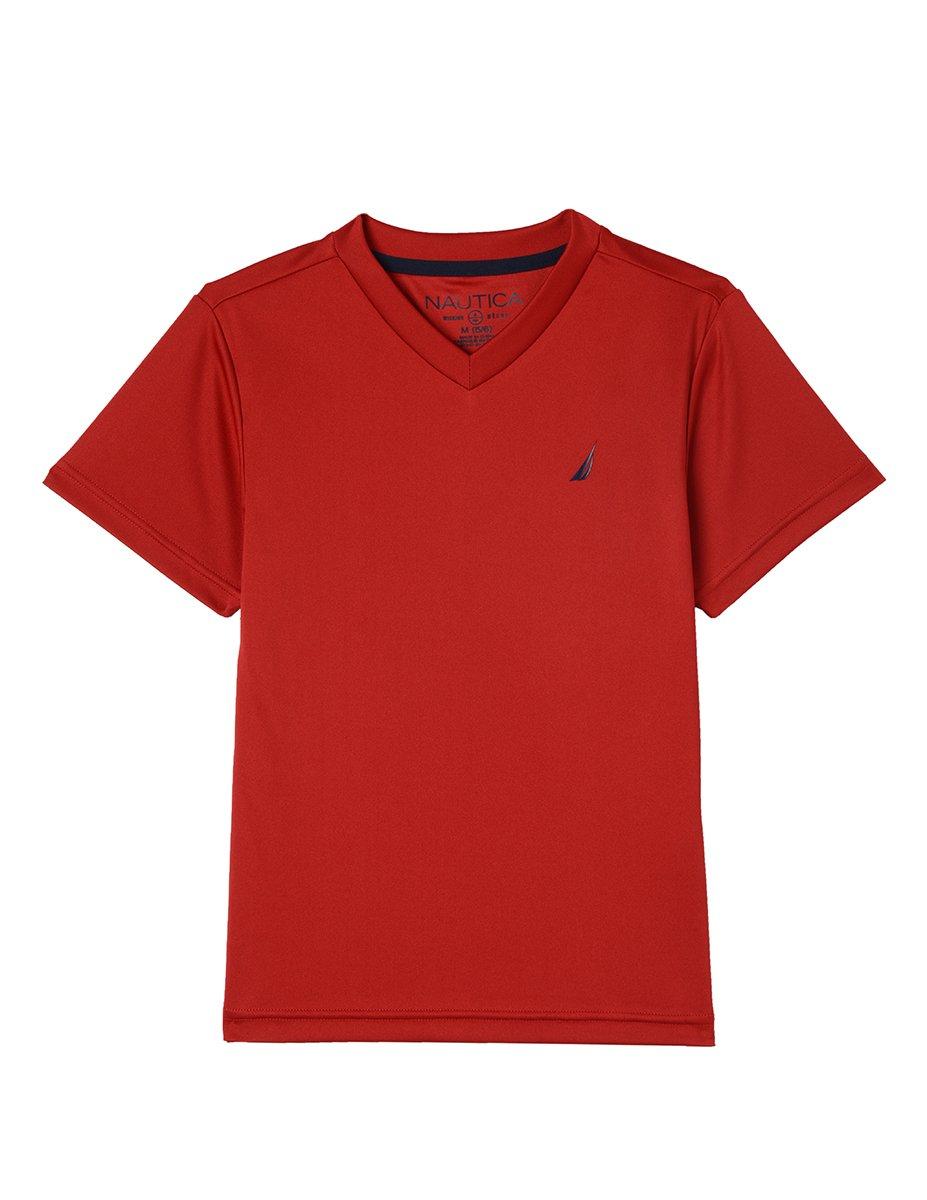 Nautica Toddler Boys' Short Sleeve Solid V-Neck T-Shirt, Palo Carmine, 2T