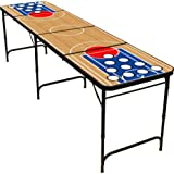 Red Cup Pong 8' Folding Beer Pong Table with Bottle Opener, Ball Rack and 6 Pong Balls - Basketball Design