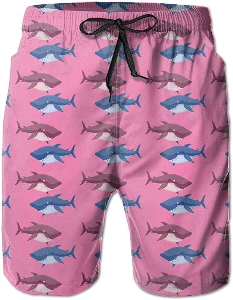 YOIGNG Boardshorts Pink Shark Men's Quick Dry Swim Trunks Beach Shorts
