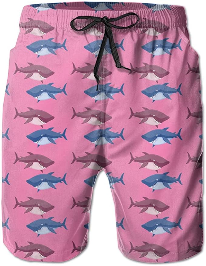 YOIGNG Boardshorts Funny Shark Mens Quick Dry Swim Trunks Beach Shorts