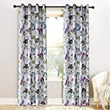 Cheap KoTing Blue/Purple Flower Curtain for Bedroom Colorful Leaf Blackout Insulate Thermal Drapes Grommet 42W by 63L Inch