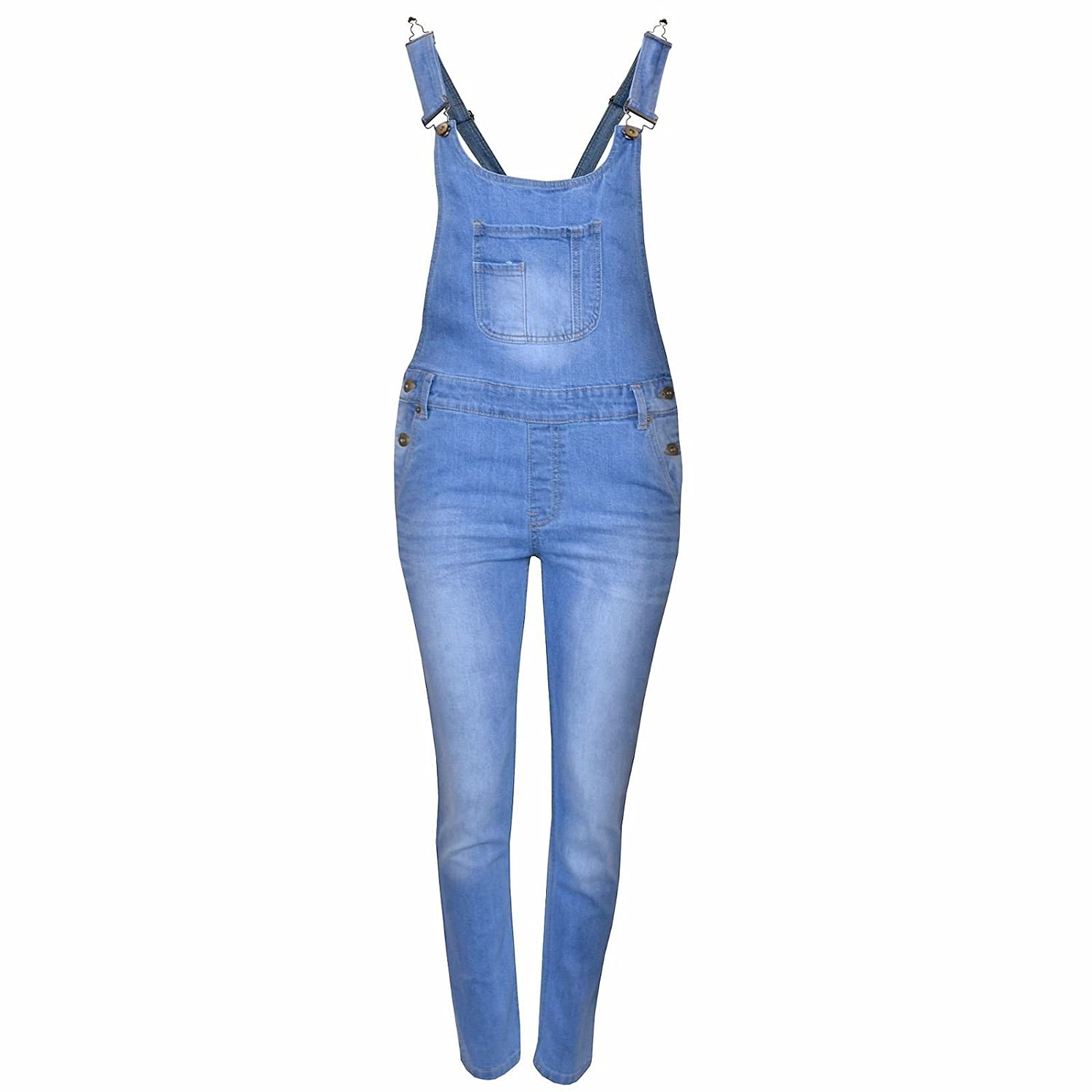 New in Stylish Summer Girl's Stretch Denim Dungaree Shorts and Long Jumpsuit Ages 7/8, 9/10, 11/12 & 13 (Age 13, Light Blue Long)