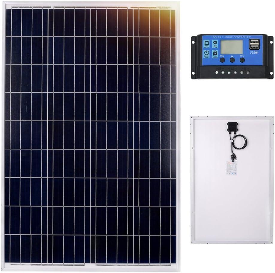 Dokio Panel Solar (policristalino, 100 W, 12 V): Amazon.es: Jardín