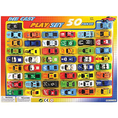 50 Piece Miniature Die Cast Race Cars And Convertibles Playset (1:64 Scale)