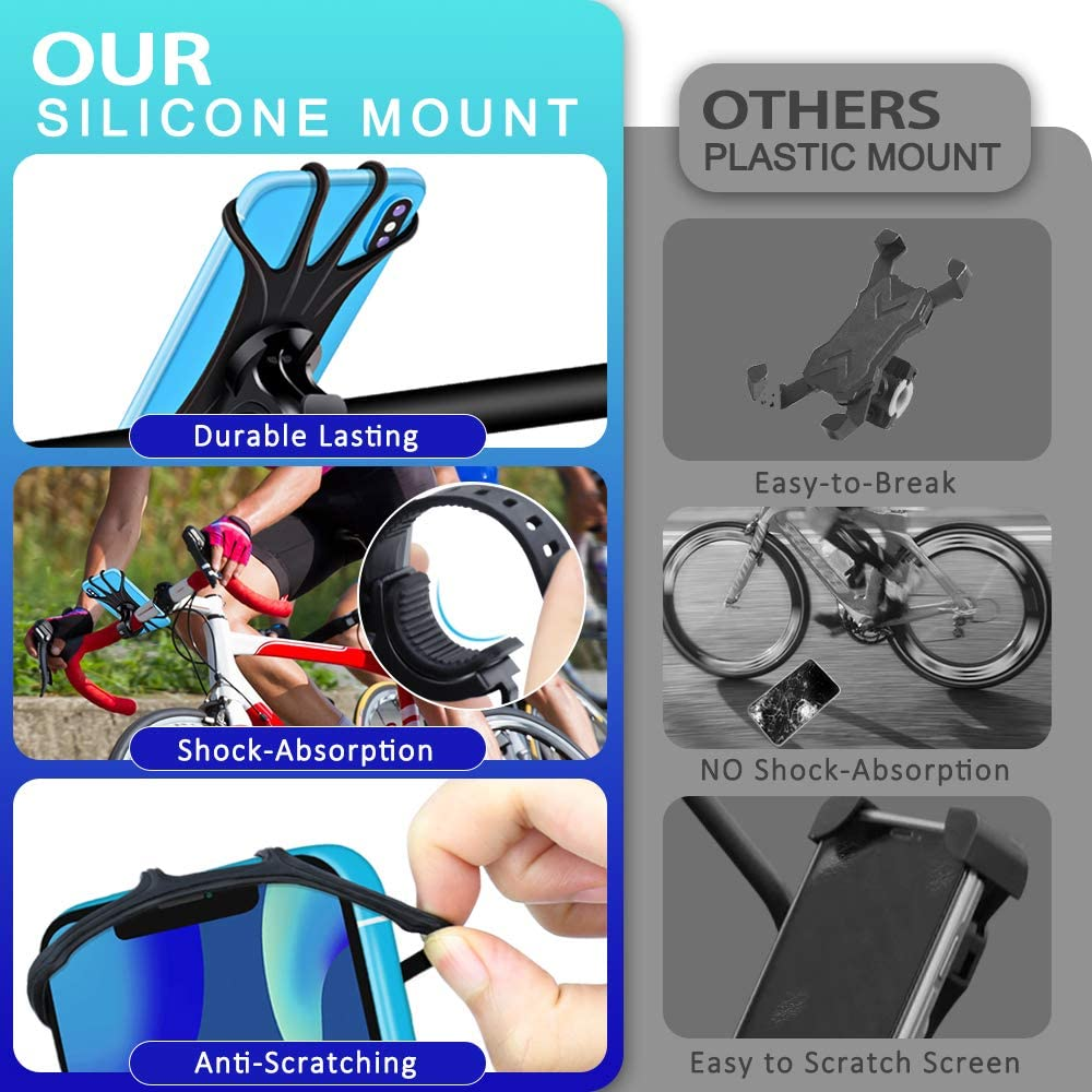 Universal Motorcycle Phone Mount Adjustable Handlebar Cradle for iPhone Xs X XR 8 8 Plus(2 Pack) WUQID Bike Phone Mount Holder Mountain Bike Mount 360/°Rotation Silicone Bicycle Phone Holder