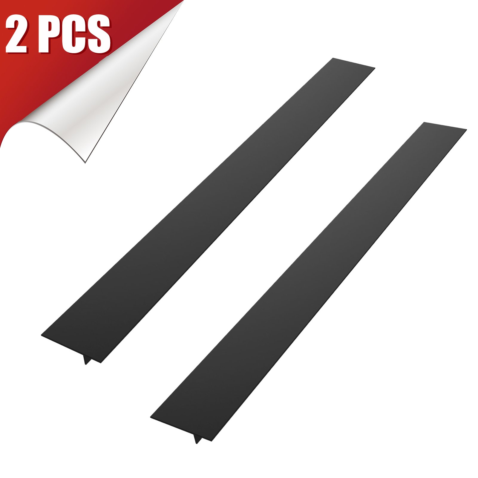 LinkStyle 2-Pack Silicone Stove Counter Gap Cover, Easy Clean Gap Filler Sealing Spills Between Kitchen Counter, Appliances, Stovetop, Oven, Washing Machine, Washer, Dryer (Black)