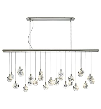 Lbl lighting hs524crsc76 island lights with transparent crystal discs shades satin nickel finish