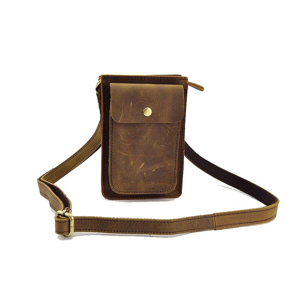 c1ba2fadf4919 Paonies Herren klein Büffelleder Tasche Handytasche Hüfttasche Geldbeutel  Schultertasche (Hellbraun)  Amazon.de  Koffer