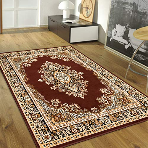 Maxstock Taj Mahal Collection Persian Traditional Design Rectangular Area Rugs -Brown/Ivory/Beige/Black (8 Feet x 10 ()