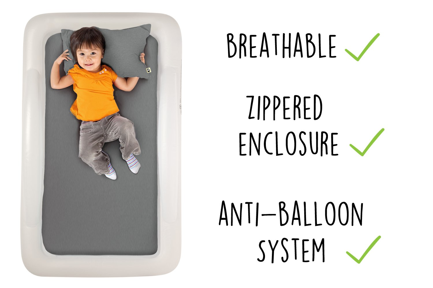The Shrunks Natural Fibre - Water-proof Toddler Pillow and Cover, Grey by The Shrunks (Image #4)