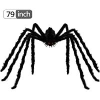 BELANT 6.6ft Giant Hairy Spider Halloween Decorations Outdoor Yard Decor, Black