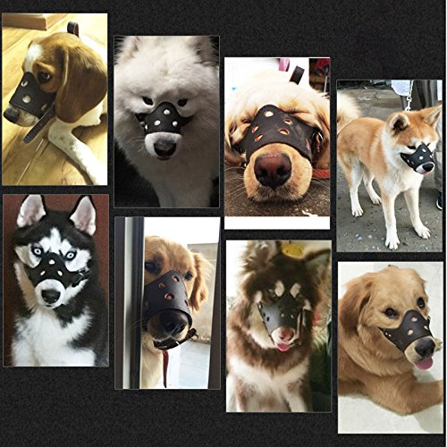 Ennc Pet Muzzles Adjustable Anti-biting Leather Dog Muzzle Flexible Leather Breathable Safety Pet Dog Muzzles Mask for Biting and Barking Lightweight and Durable for Dogs Puppy by Ennc (Image #6)'
