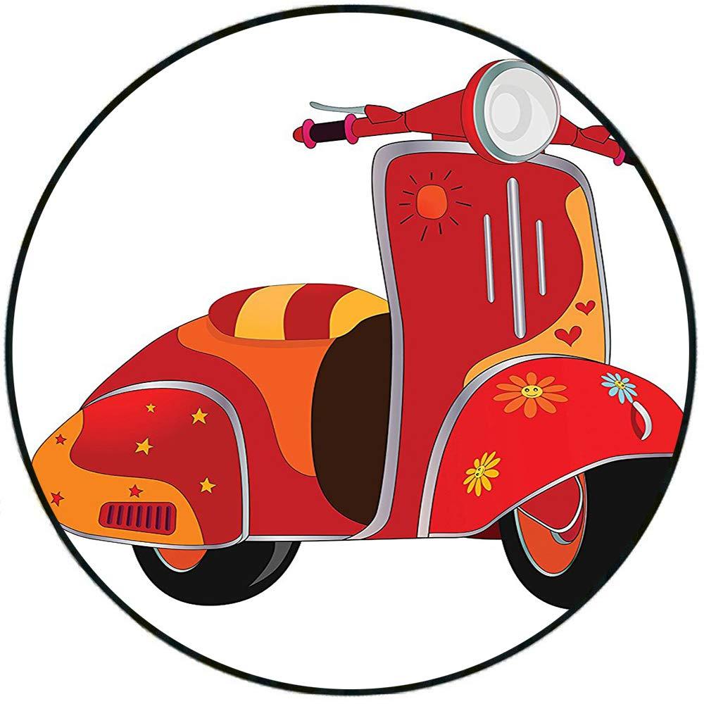 Alfombra Redonda de Felpa Corta para Patinete o Motocicleta ...