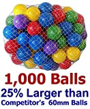 Pack of 1000 pcs 2.5'' True to Size Balls Phthalate Free BPA Free Crush Proof Plastic Balls in 5 Bright Colors