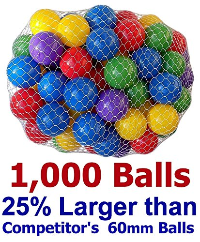 Pack of 1000 pcs 2.5'' True to Size Balls Phthalate Free BPA Free Crush Proof Plastic Balls in 5 Bright Colors by My Balls by CMS