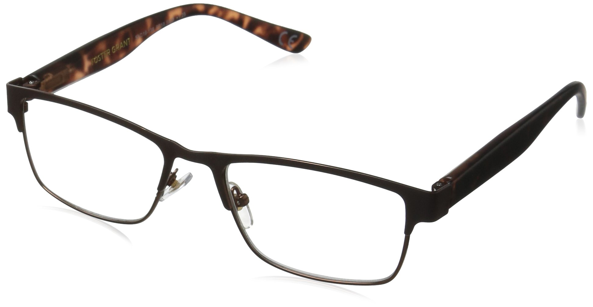 Foster Grant Men's Cormick 1017555-250.COM Wayfarer Reading Glasses, Brown, 2.5