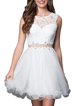 Juniors Two Piece Homecoming Dresses Short Lace Tulle Prom Evening Gowns: Amazon.co.uk: Clothing