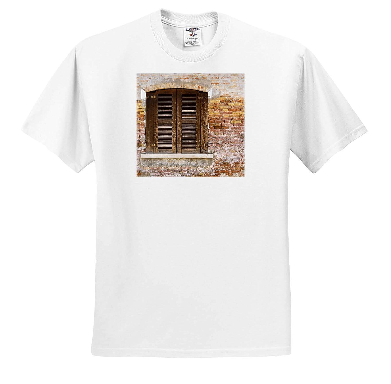 Burano Italy Wooden shutters and Brick Wall Veneto Adult T-Shirt XL ts/_313738 Italy 3dRose Danita Delimont