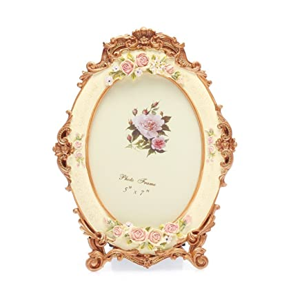 Buy 5x7 Inches Victorian Floral Oval Picture Frame by Zhenzan Frames ...