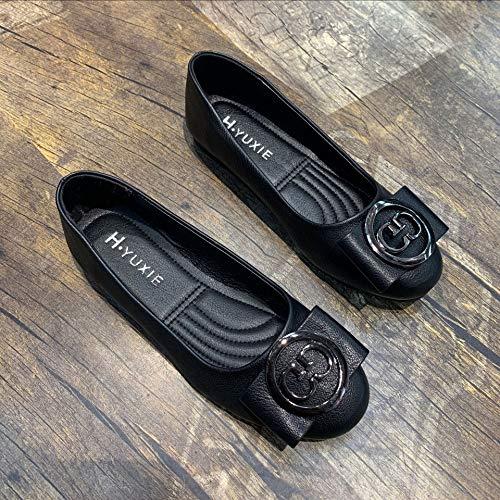 Mujer Para Black Tacón Redonda Tacones Hoesczs Y Primavera De Altos Bajo Versátiles Boca Cabeza Moda Zapatos Baja UCwIwqxt