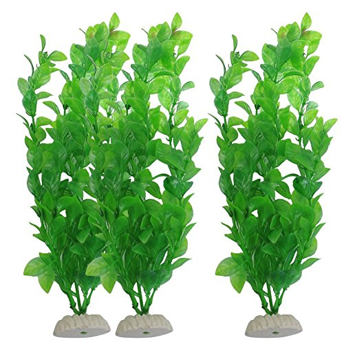 3Pcs Aquarium Decor Green Artificial Grass Plastic For Plant Fish Tank Ornament (Plant Ornament Tank Plastic Fish)