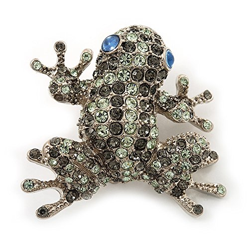 Swarovski Crystal 'Frog' Brooch In Rhodium Plated Metal (Light Green/ Grey) (Swarovski Frog Brooch Crystal)