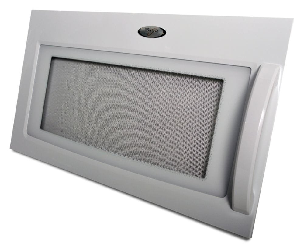 Whirlpool 8206394 Microwave Door Assembly Genuine Original Equipment Manufacturer (OEM) part for Whirlpool, White