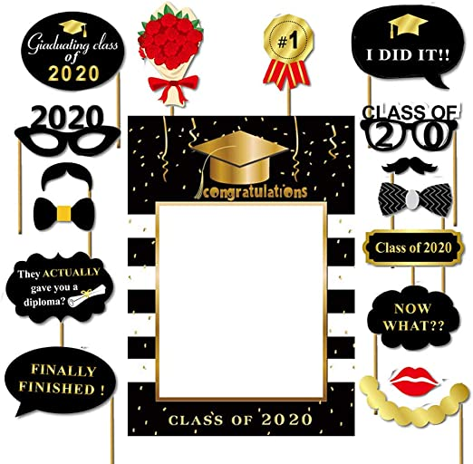 Dusenly Graduation Photo Frame Props with 16pcs Graduation Photo Booth Props Black Golden Glitter for 2020 Graduation Party Decoration Supplies