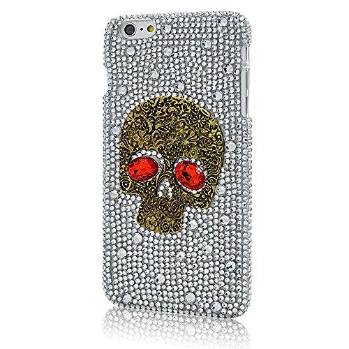 LG G7 Case, LU2000 3D Bling Sugar Skull Red Eyes Crystals [Skull Series] Gel Phone Hard Case Cover for LG G7 / LG G7 ThinQ - Halloween Decor