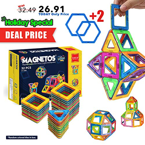MAGNETOS Magnetic Blocks Building Set for Kids, 30+2 Pcs Educational Toys for Boys & Girls, FREE Booklet, Learning Construction Game, Best Christmas Birthday Gift & Preschool STEM Toy for Childrens ()