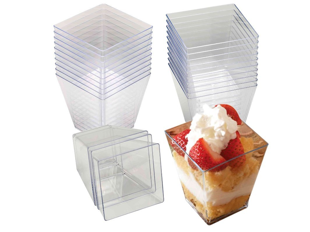 4 Oz Tall Square Clear Plastic Dessert Tumbler Cups - 40 Pack