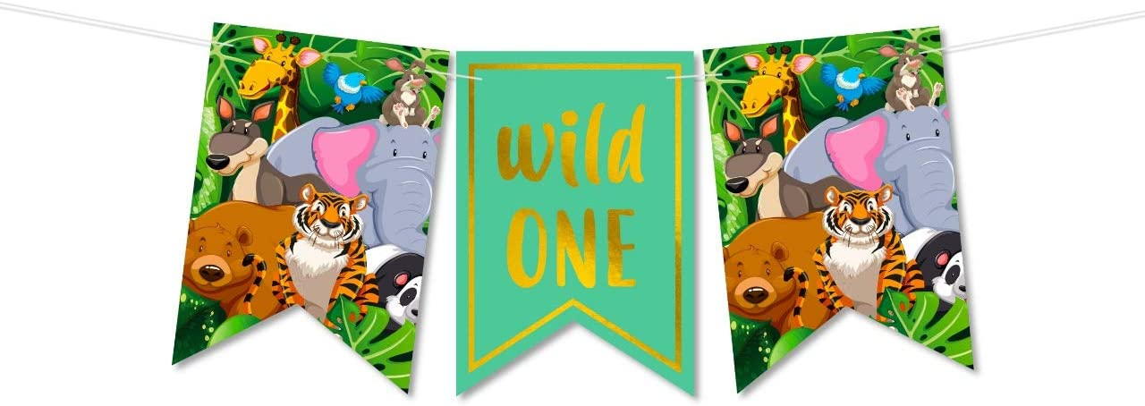 Amazon Com Wild One Banner Jungle Theme Party Supplies Safari First Birthday Decorations Boy Or Girl High Chair Smash Banner Decorating Kit 1st Animal Birthday Party Supplies Backdrop One Year Old Boy Toys