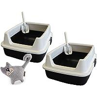PETGARD 2er Sparpack Katzentoilette Katzenklo Marcello mit extra hohem Rand + gratis Katzenspielzeug