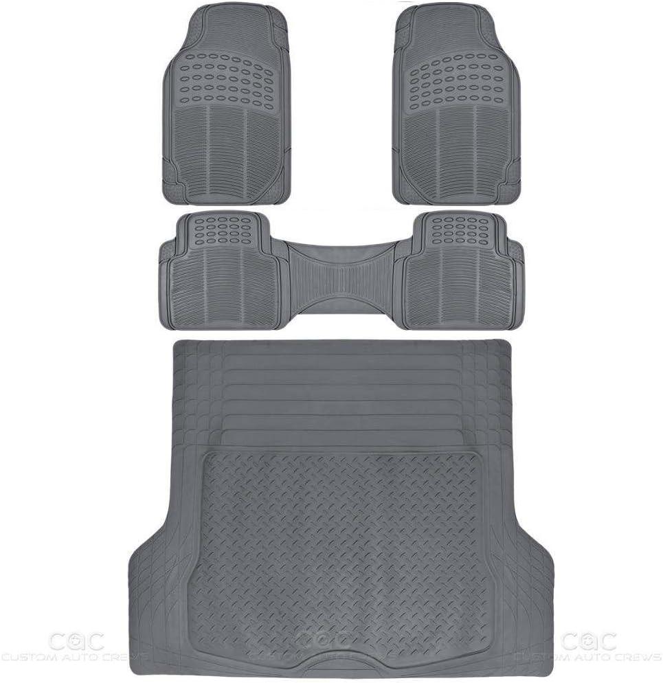 BDKProLiner Gray All Weather Rubber Auto Floor Mats & Cargo Liner - Heavy Duty 4pc Set - CB783