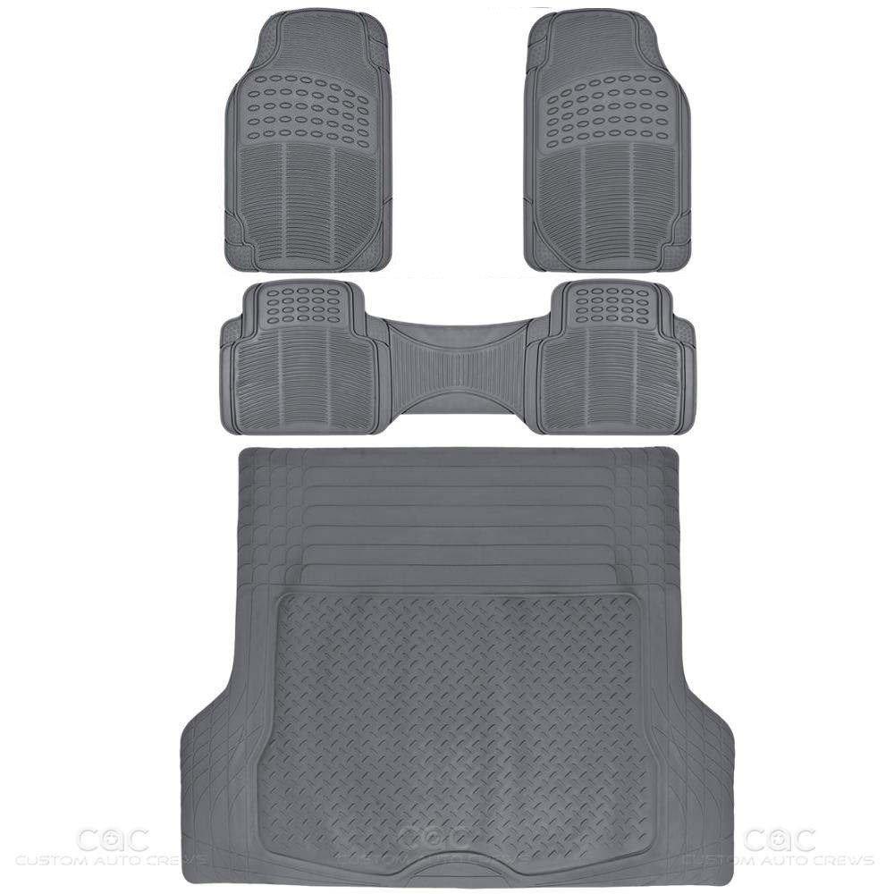 BDKProLiner Gray All Weather Rubber Auto Floor Mats & Cargo Liner - Heavy Duty 4pc Set