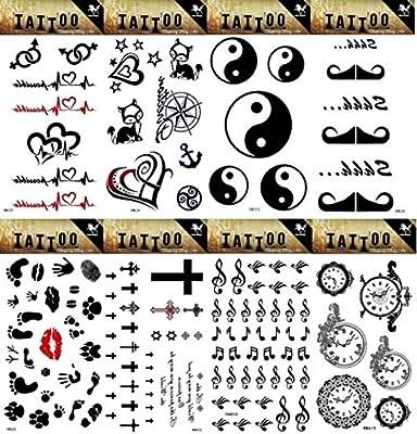 Spestyle - 8 pegatinas de tatuaje falsos de aspecto diferente en 1 ...