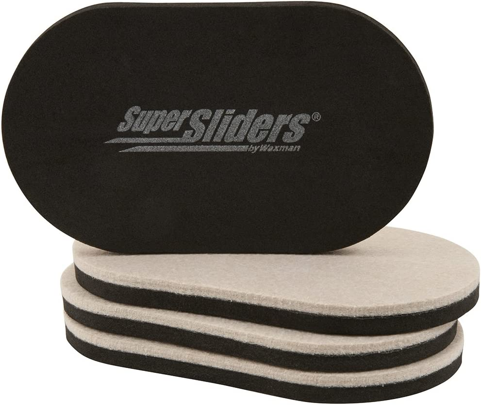 "SuperSliders 4705195N Reusable Furniture Movers for Hardwood Floors – Quickly and Easily Move Any Item 3-1/2"" x 6"" Linen (4 Pack)"