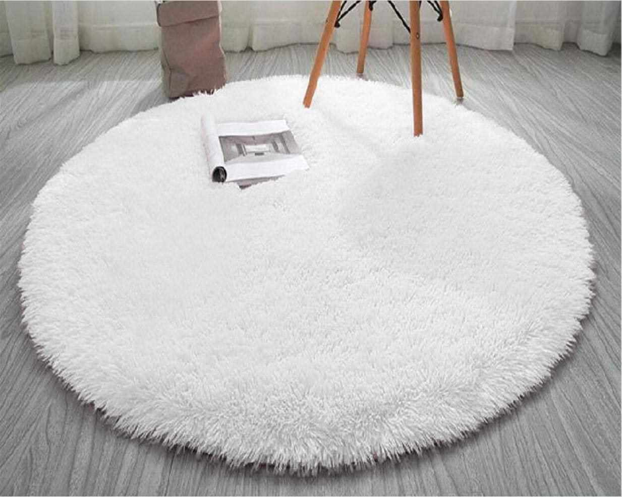 FlashLTD Fluffy Ultra Soft Shaggy Area Rugs for Bedroom Fluffy Carpet for Kids Room Bedside Nursery Mats White, 4 X 4