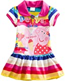LEMONBABY Little Girls' Summer Peppa Pig Dress,Lapel Rainbow Color
