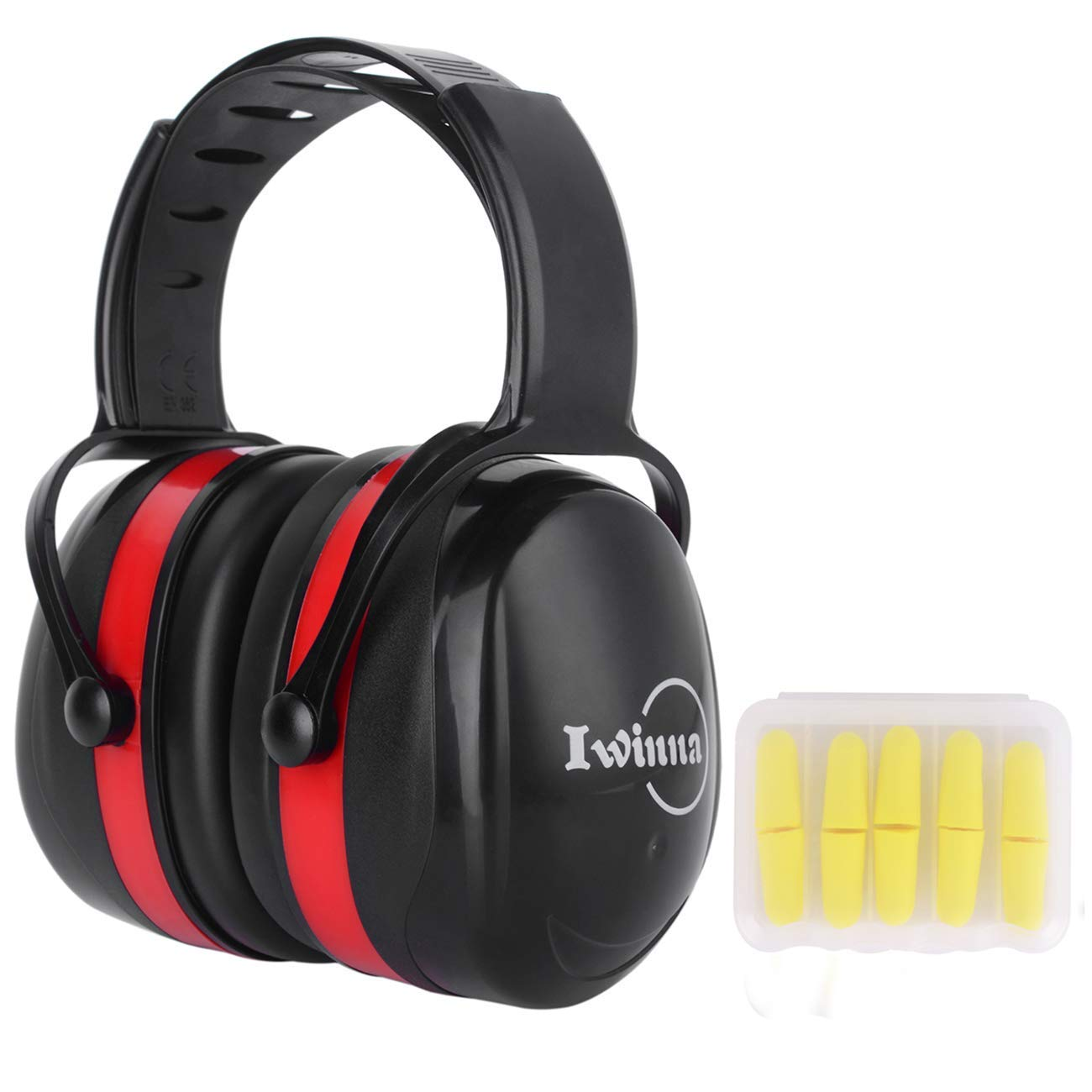 Safety Ear Muffs Hearing Protection Headphones Adjustable Adult Noise Reduction Youth Ear Defenders Noise Cancelling Earmuffs for Working Shooting Hunting Welding Mowing Construction, Black+Red